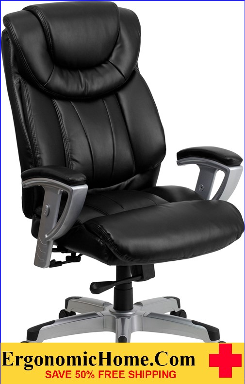 Ergonomic Home Tough Enough Series 400 Lb Capacity Big Tall Black Leather Executive Swivel
