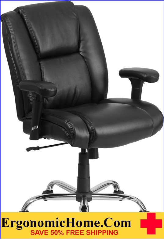 Ergonomic Home TOUGH ENOUGH Series 400 lb. Capacity Big & Tall Black Leather Swivel Task Chair with Height Adjustable Arms EH-GO-2132-LEA-GG <b><font color=green>50% Off Read More Below...</font></b>