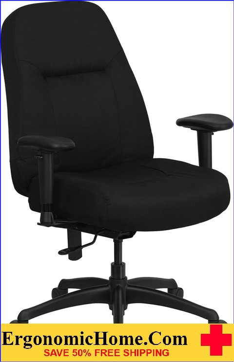 Ergonomic Home TOUGH ENOUGH Series 400 lb. Capacity High Back Big & Tall Black Fabric Executive Swivel Office Chair with Extra WIDE Seat and Height Adjustable Arms EH-WL-726MG-BK-A-GG <b><font color=green>50% Off Read More Below...</font></b>