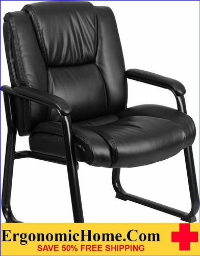 Ergonomic Home TOUGH ENOUGH Series 500 lb. Capacity Big & Tall Black Leather Executive Side Chair with Sled Base EH-GO-2138-GG .