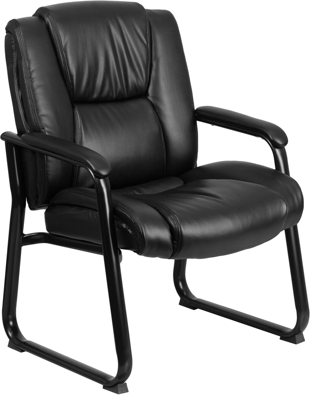 Ergonomic Home TOUGH ENOUGH Series 500 lb. Capacity Big & Tall Black Leather Executive Side Chair with Sled Base EH-GO-2138-GG <b><font color=green>50% Off Read More Below...</font></b>