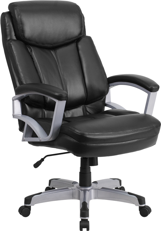 Ergonomic Home TOUGH ENOUGH Series 500 lb. Capacity Big & Tall Black Leather Executive Swivel Office Chair EH-GO-1850-1-LEA-GG <b><font color=green>50% Off Read More Below...</font></b>