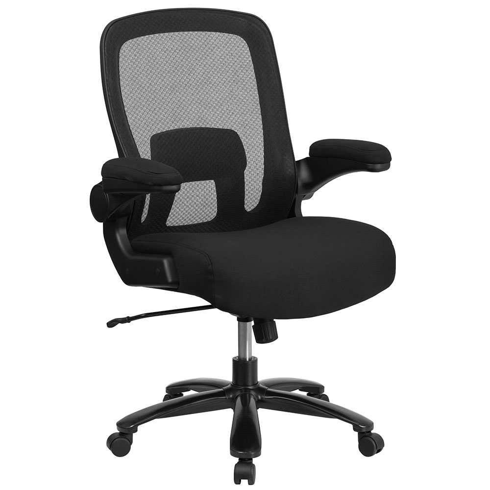 Ergonomic Home TOUGH ENOUGH Series 500 lb. Capacity Big & Tall Black Mesh Executive Swivel Chair with Fabric Seat, Adjustable Lumbar and Flip-Up Arms EH-BT-20180-GG <b><font color=green>50% Off Read More Below...</font></b>