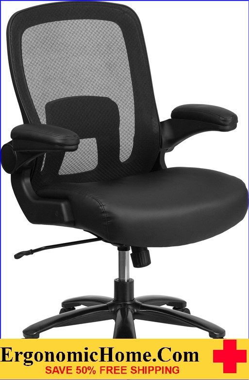 Ergonomic Home TOUGH ENOUGH Series 500 lb. Capacity Big & Tall Black Mesh Executive Swivel Chair with Leather Seat, Adjustable Lumbar and Flip-Up Arms EH-BT-20180-LEA-GG <b><font color=green>50% Off Read More Below...</font></b>