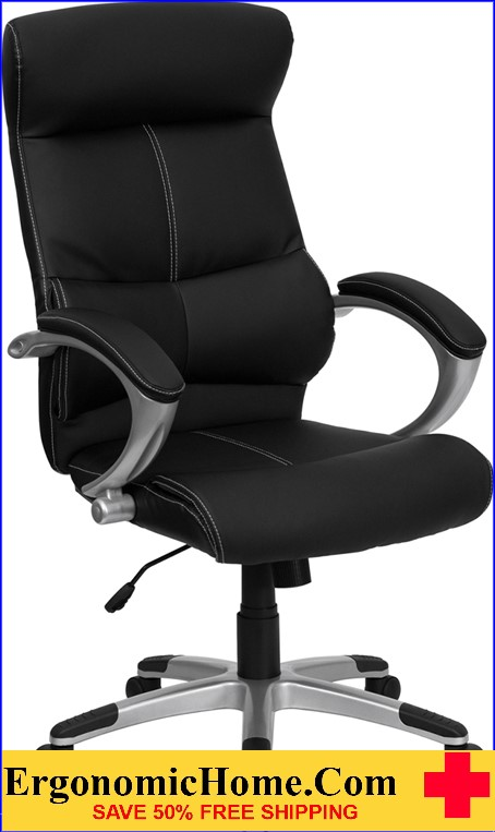 Ergonomic Home High Back Black Leather Executive Swivel Office Chair EH-H-9637L-1C-HIGH-GG <b><font color=green>50% Off Read More Below...</font></b>