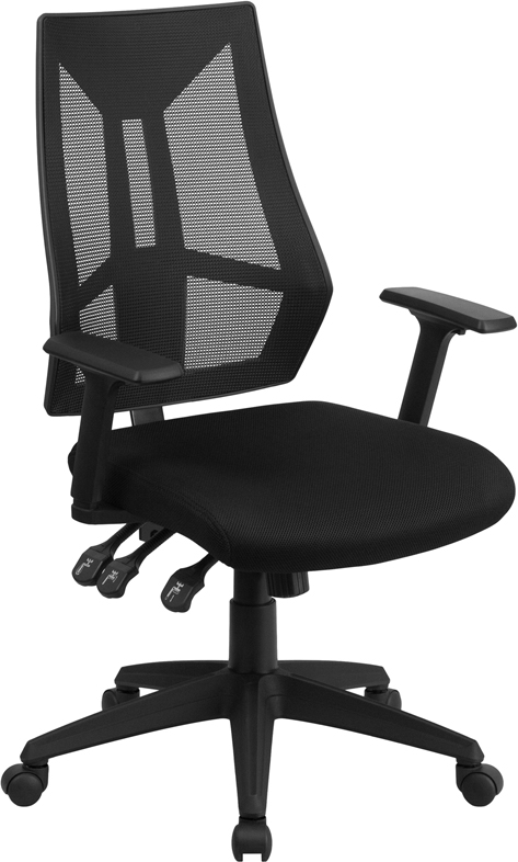 Ergonomic Home High Back Black Mesh Swivel Task Chair with Triple Paddle Control EH-HL-0017-GG <b><font color=green>50% Off Read More Below...</font></b>