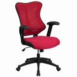 Ergonomic Home High Back Burgundy Designer Mesh Executive Swivel Office Chair with Mesh Padded Seat