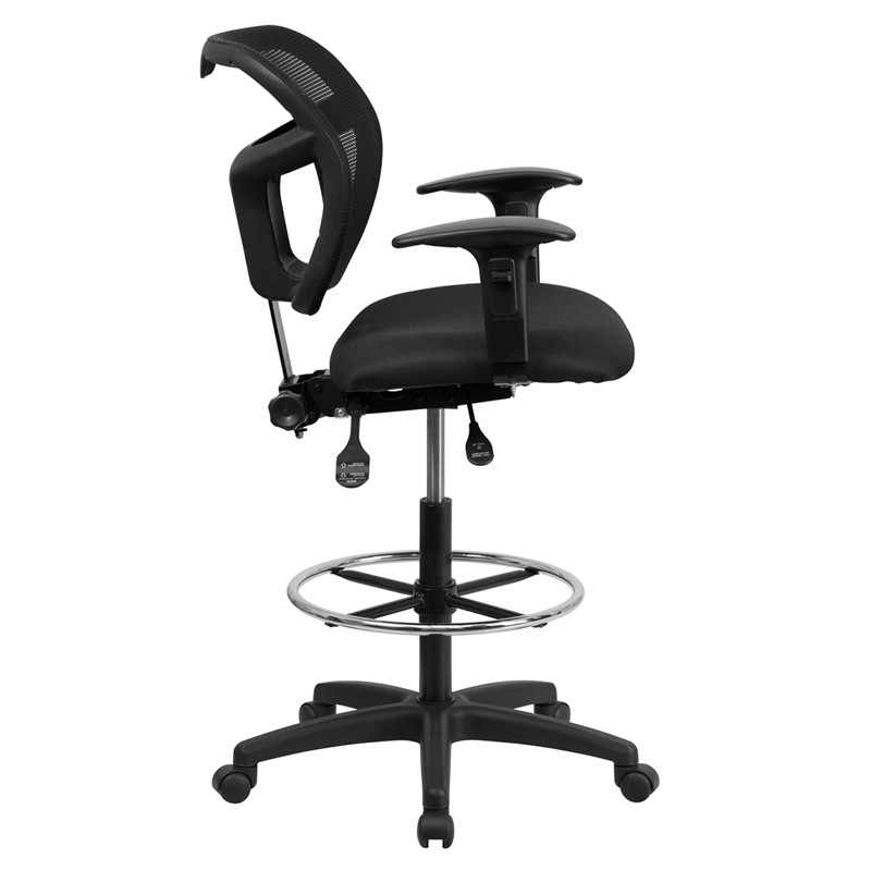 Ergonomic Home Mesh Drafting Chair W Height Adjustable Arms Mid Back