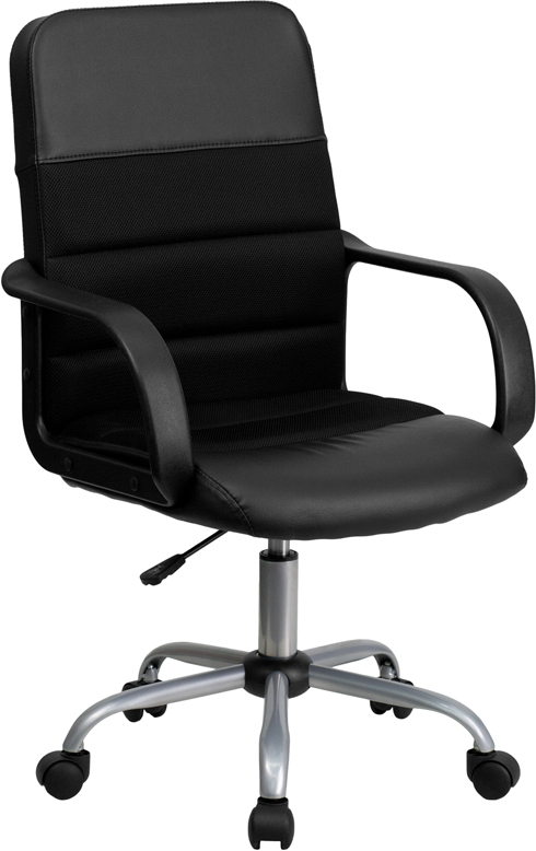 Ergonomic Home Mid-Back Black Leather and Mesh Swivel Task Chair EH-LF-W-61B-2-GG <b><font color=green>50% Off Read More Below...</font></b>