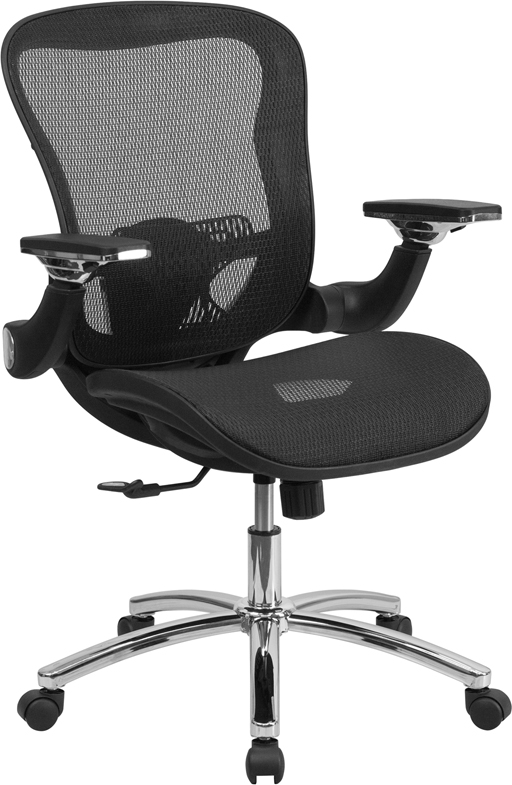 Ergonomic Home Mid Back Black Mesh Executive Swivel Office Chair With Synchro Tilt And Height Adjustable Flip Up Arms