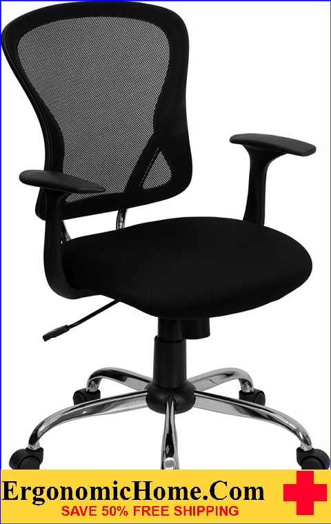 Ergonomic Home Mid-Back Black Mesh Swivel Task Chair with Chrome Base EH-H-8369F-BLK-GG <b><font color=green>50% Off Read More Below...</font></b>