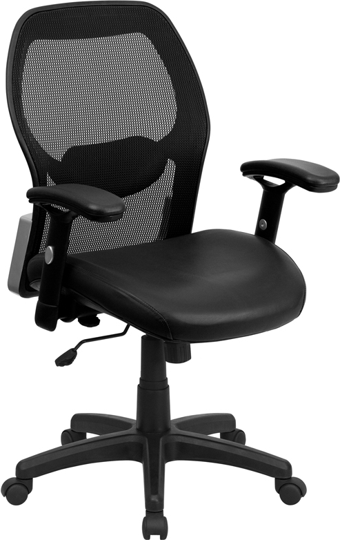Ergonomic Home Mid-Back Black Super Mesh Executive Swivel Office Chair with Leather Padded Seat EH-LF-W42B-L-GG <b><font color=green>50% Off Read More Below...</font></b>