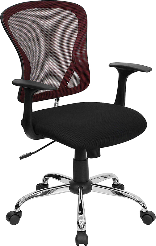 Ergonomic Home Mid-Back Burgundy Mesh Swivel Task Chair with Black Mesh Padded Seat and Chrome Base EH-H-8369F-BG-GG <b><font color=green>50% Off Read More Below...</font></b>