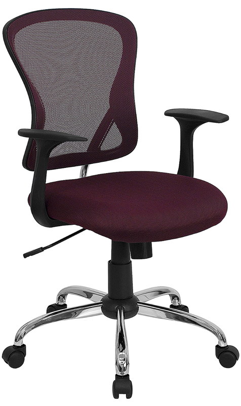 Ergonomic Home Mid-Back Burgundy Mesh Swivel Task Chair with Chrome Base EH-H-8369F-ALL-BY-GG <b><font color=green>50% Off Read More Below...</font></b>