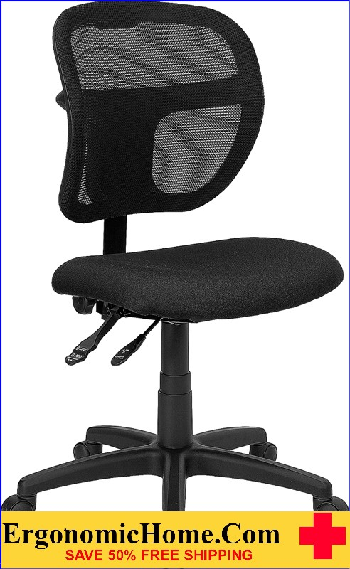 Ergonomic Home Mid-Back Mesh Swivel Task Chair with Black Fabric Padded Seat EH-WL-A7671SYG-BK-GG <b><font color=green>50% Off Read More Below...</font></b>