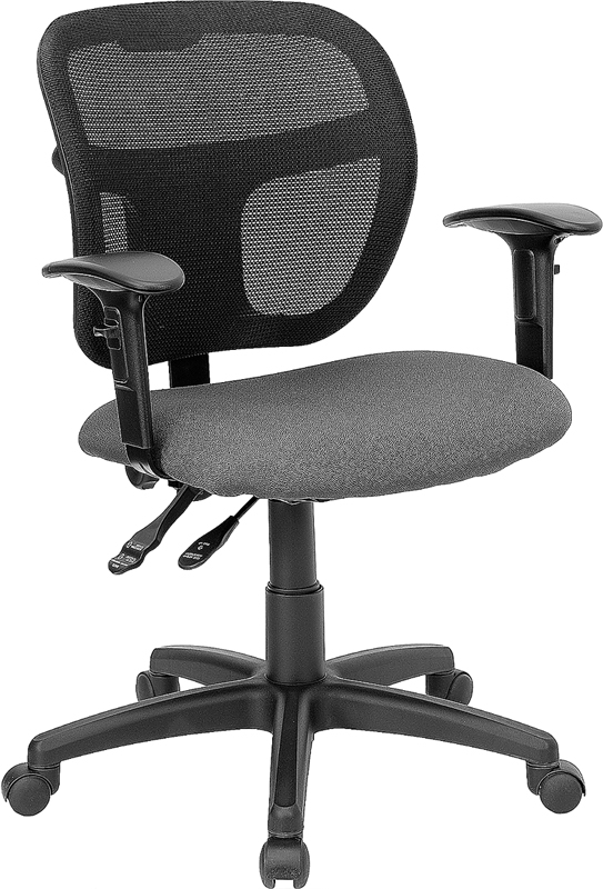 Ergonomic Home Mid-Back Mesh Swivel Task Chair with Gray Fabric Padded Seat and Height Adjustable Arms EH-WL-A7671SYG-GY-A-GG <b><font color=green>50% Off Read More Below...</font></b>