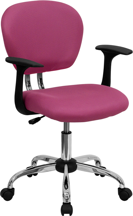 Ergonomic Home Mid-Back Pink Mesh Swivel Task Chair with Chrome Base and Arms EH-H-2376-F-PINK-ARMS-GG <b><font color=green>50% Off Read More Below...</font></b>