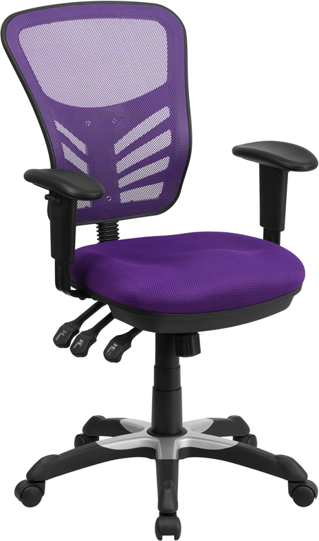 Ergonomic Home Mid-Back Purple Mesh Swivel Task Chair with Triple Paddle Control EH-HL-0001-PUR-GG <b><font color=green>50% Off Read More Below...</font></b>