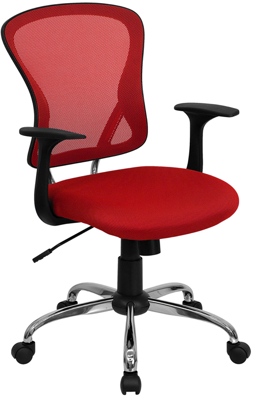 Ergonomic Home Mid-Back Red Mesh Swivel Task Chair with Chrome Base EH-H-8369F-RED-GG <b><font color=green>50% Off Read More Below...</font></b>