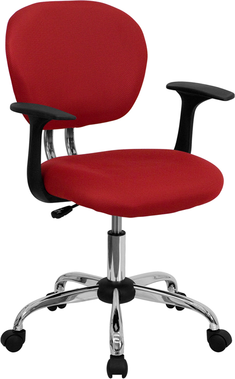 Ergonomic Home Mid-Back Red Mesh Swivel Task Chair with Chrome Base and Arms EH-H-2376-F-RED-ARMS-GG <b><font color=green>50% Off Read More Below...</font></b>