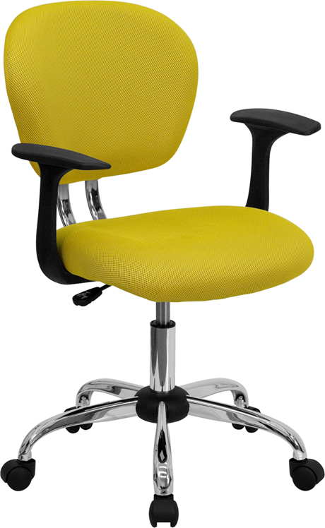 Ergonomic Home Mid-Back Yellow Mesh Swivel Task Chair with Chrome Base and Arms EH-H-2376-F-YEL-ARMS-GG <b><font color=green>50% Off Read More Below...</font></b>