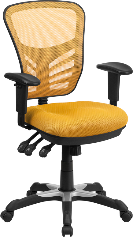 Ergonomic Home Mid-Back Yellow-Orange Mesh Swivel Task Chair with Triple Paddle Control EH-HL-0001-YEL-GG <b><font color=green>50% Off Read More Below...</font></b>