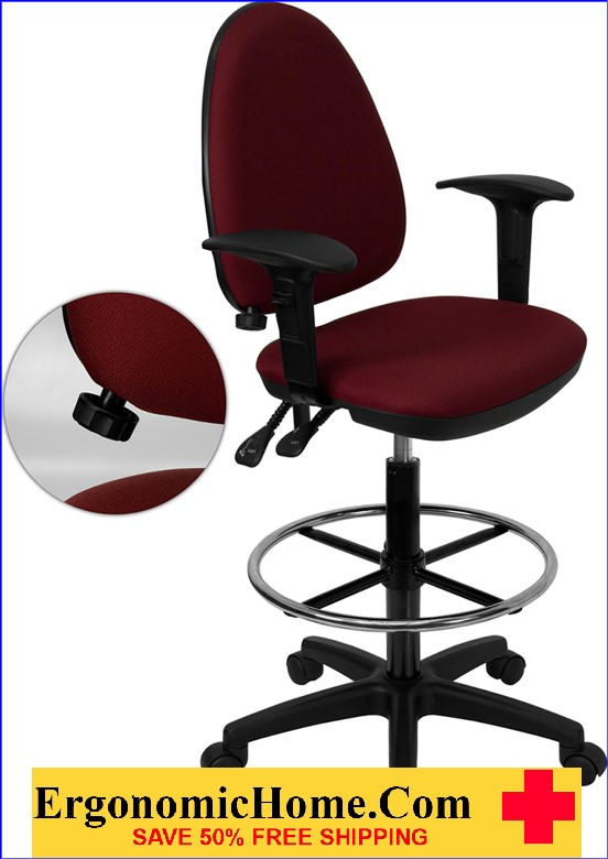 Ergonomic Home Office Mid Back Burgundy Fabric Multi Functional Drafting  Chair EH WL