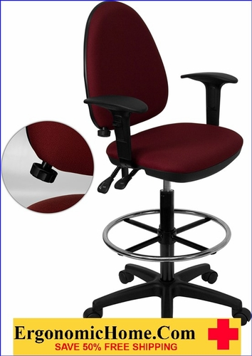 Ergonomic Home Office Mid-Back Burgundy Fabric Multi-Functional Drafting Chair EH-WL-A654MG-BY-AD-GG .