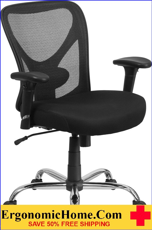 Ergonomic Home TOUGH ENOUGH Series 400 lb. Capacity Big & Tall Black Mesh Swivel Task Chair with Height Adjustable Back and Arms EH-GO-2032-GG <b><font color=green>50% Off Read More Below...</font></b>