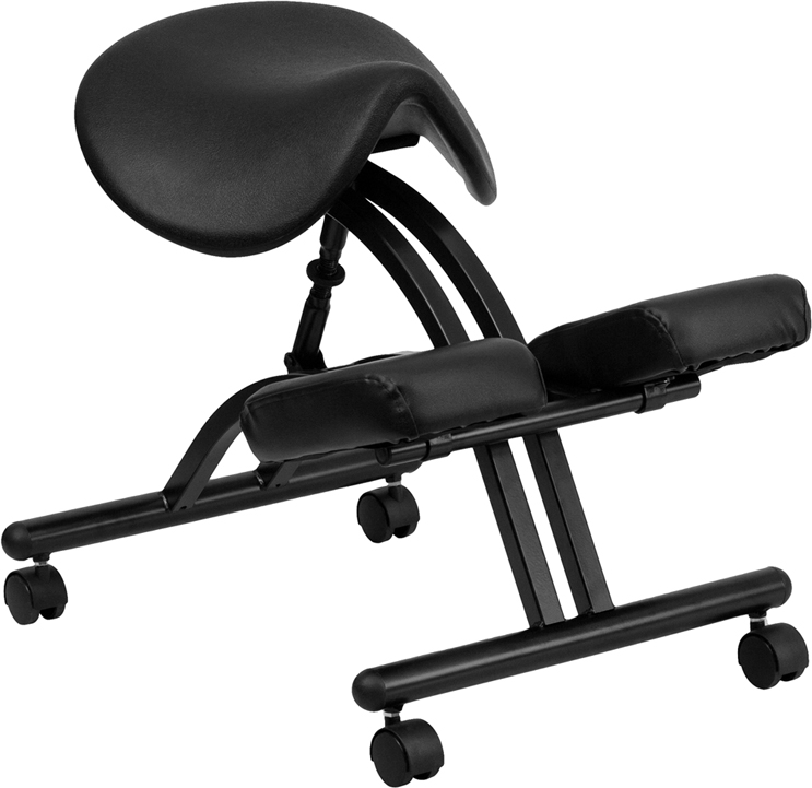 Ergonomic Kneeling Chair with Black Saddle Seat EH-WL-1421-GG