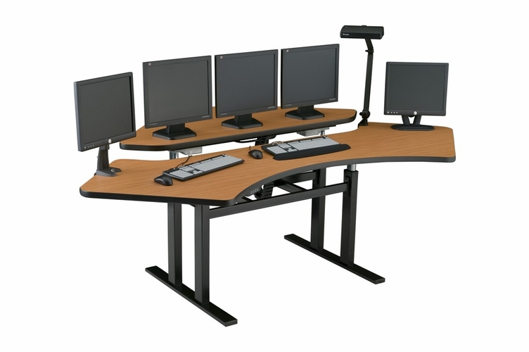 Corner computer desk control room console command center furniture in houston and texas - Viking office desk ...