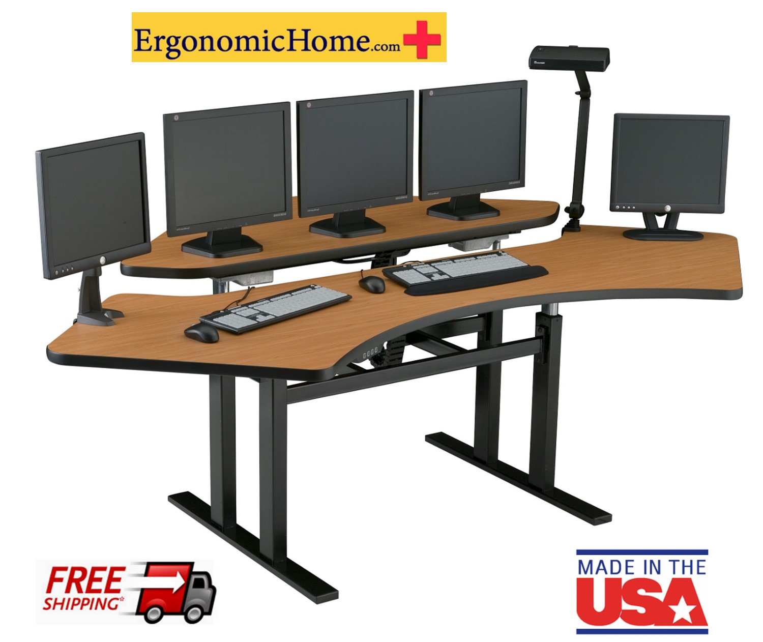 ERGONOMIC HOME CORNER COMPUTER DESK #CNR-7273. MADE IN USA.