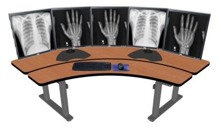 ADJUSTABLE RADIOLOGY DESK. CORNER COMPUTER DESK #PACS-ERO72. VIDEO.</b></font>