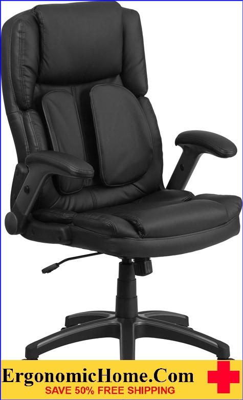 Ergonomic Home Extreme Comfort High Back Black Leather Executive Swivel Office Chair with Flip-Up Arms <b><font color=green>50% Off Read More Below...</font></b>