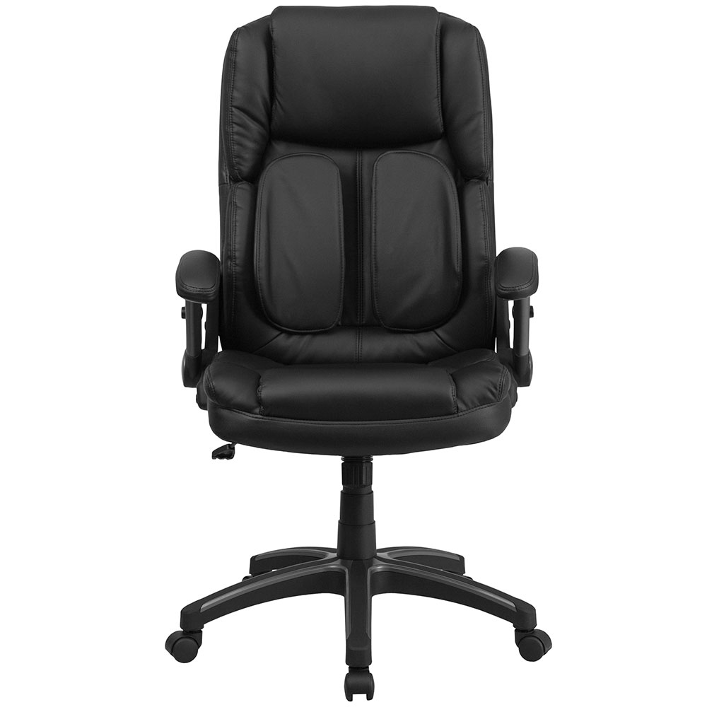 ergonomic home extreme comfort high back black leather executive swivel office chair with flip. Black Bedroom Furniture Sets. Home Design Ideas