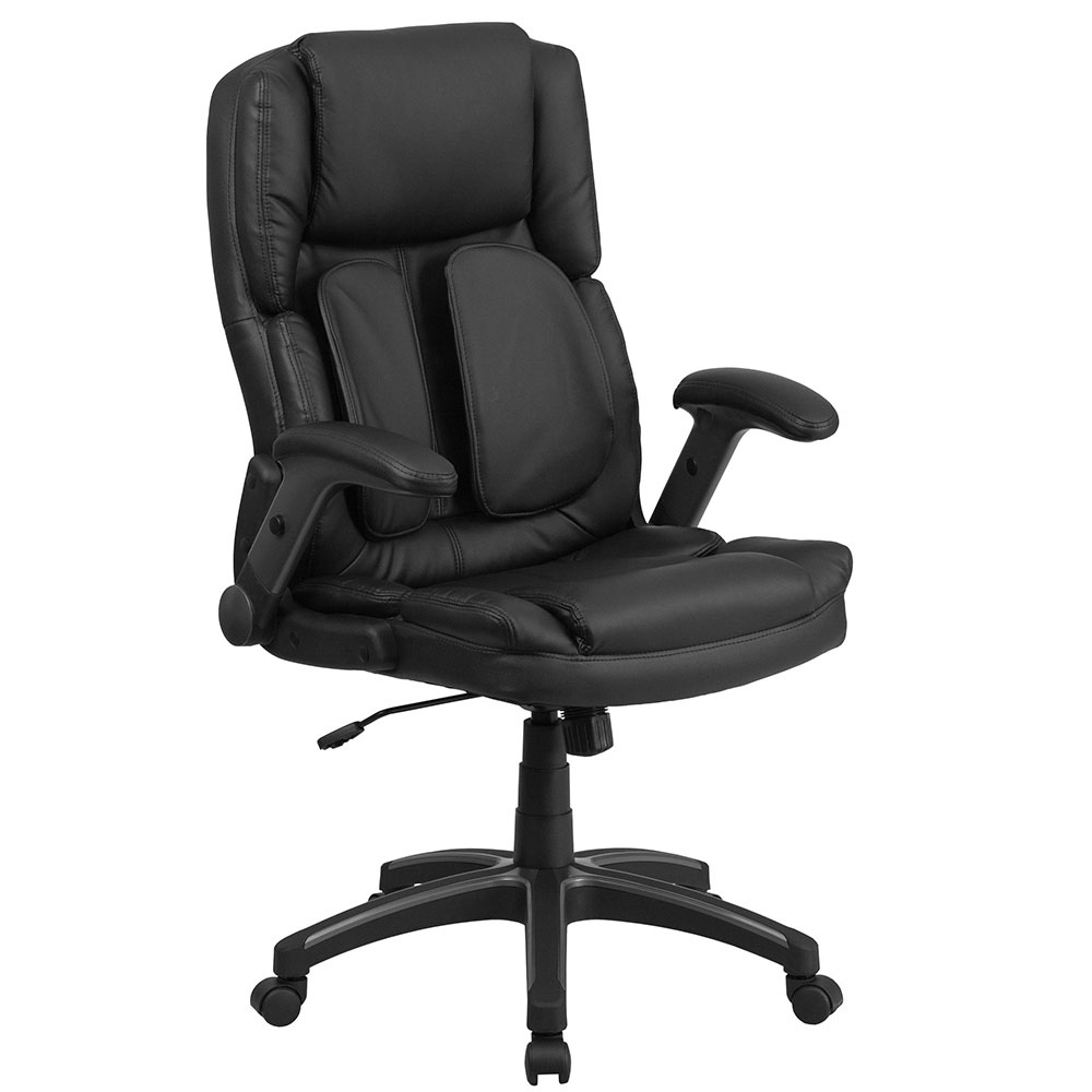 Extreme Comfort High Back Black Leather Executive Swivel Office Chair with Flip-Up Arms