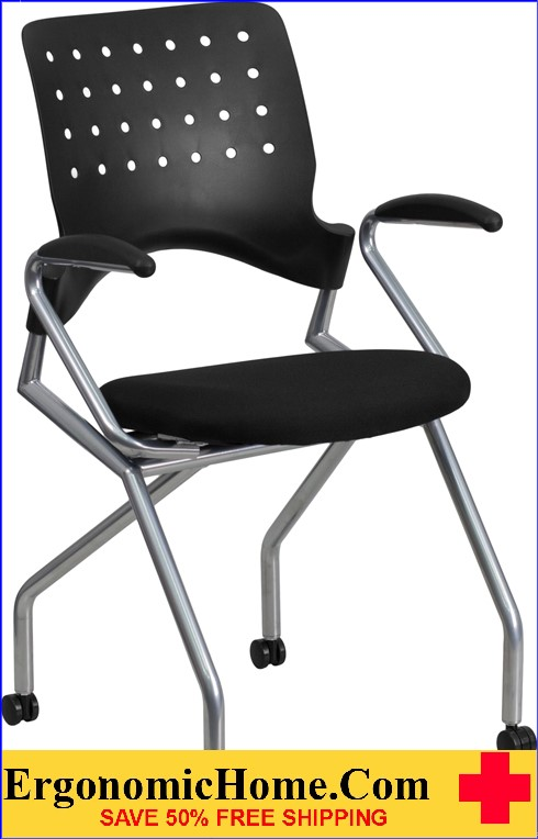 Ergonomic Home Galaxy Mobile Nesting Chair with Arms and Black Fabric Seat EH-WL-A224V-A-GG .
