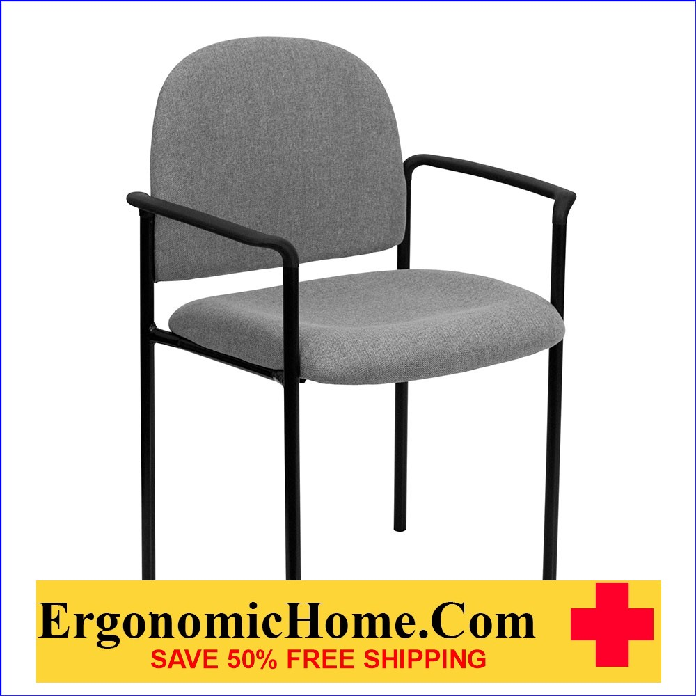 </b></font>Ergonomic Home Gray Fabric Comfortable Stackable Steel Side Chair with Arms EH-BT-516-1-GY-GG <b></font>. </b></font></b>