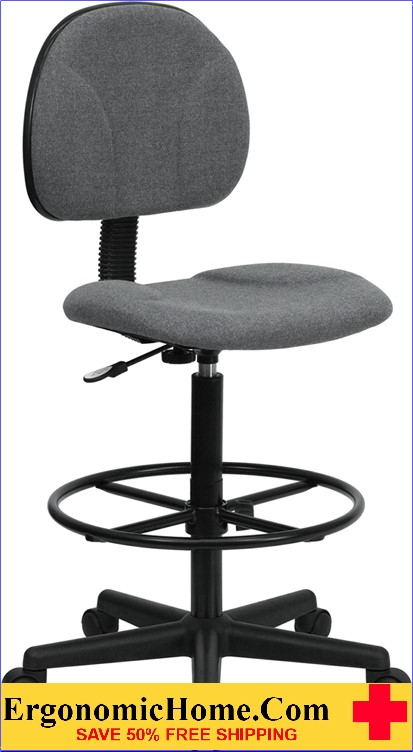 Ergonomic Home Gray Fabric Drafting Chair (Adjustable Range 22.5''-27''H or 26''-30.5''H) EH-BT-659-GRY-GG <b><font color=green>50% Off Read More Below...</font></b>