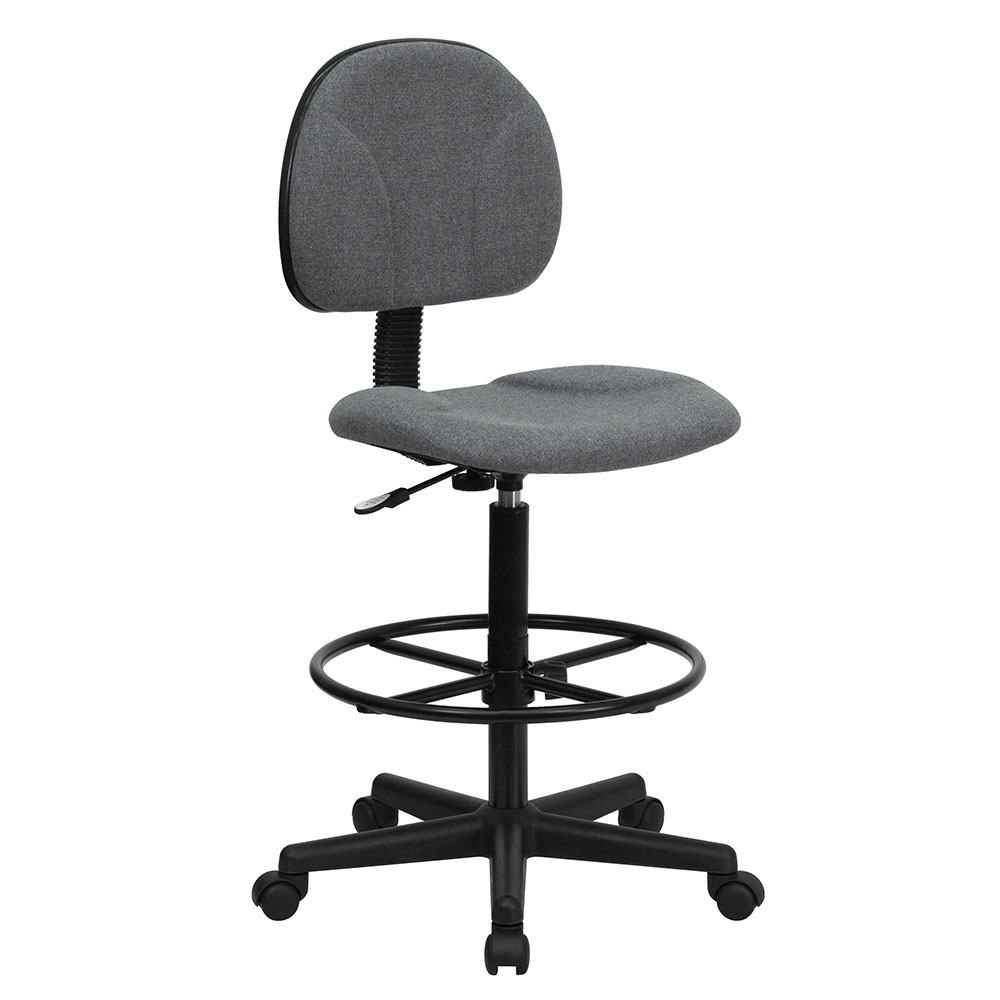 gray fabric ergonomic drafting chair adjustable range