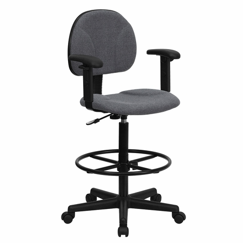 Ergonomic Home Gray Fabric Drafting Chair with Height Adjustable Arms (Adjustable Range 22.5''-27''H or 26''-30.5''H) EH-BT-659-GRY-ARMS-GG .