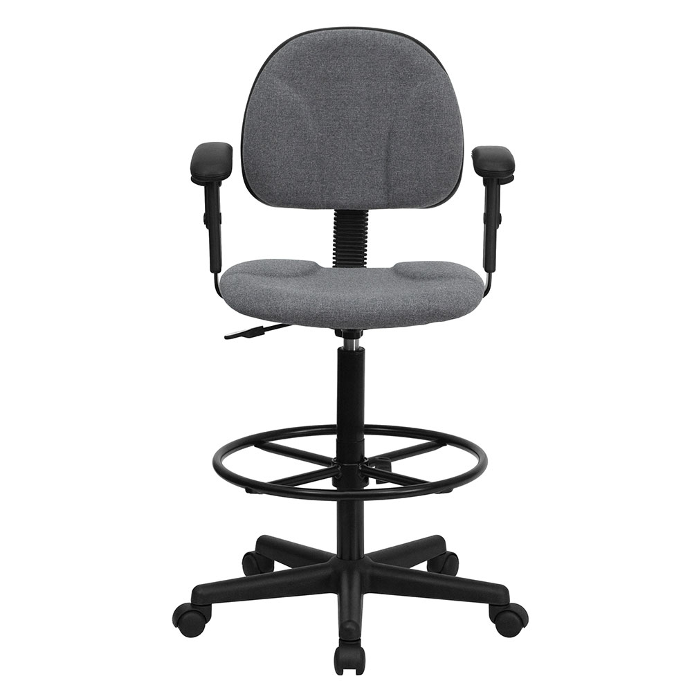 Ergonomic Home Gray Fabric Drafting Chair With Height