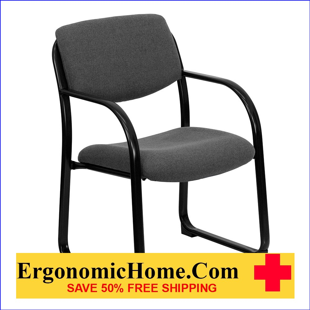 Ergonomic Home Gray Fabric Executive Side Chair with Sled Base EH-BT-508-GY-GG .