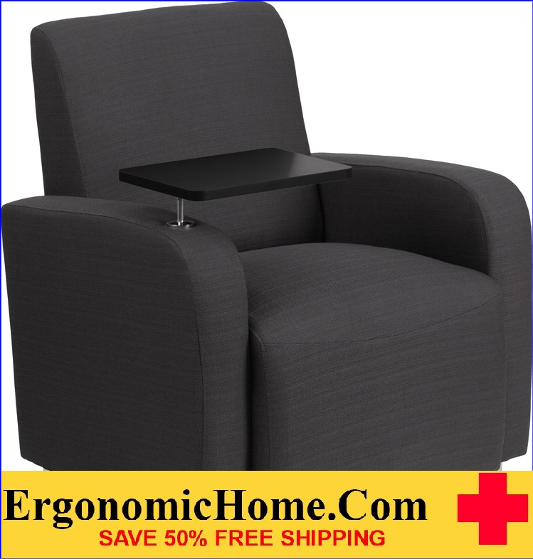Ergonomic Home Gray Fabric Guest Chair with Tablet Arm and Chrome Legs <b><font color=green>50% Off Read More Below...</font></b></font></b>