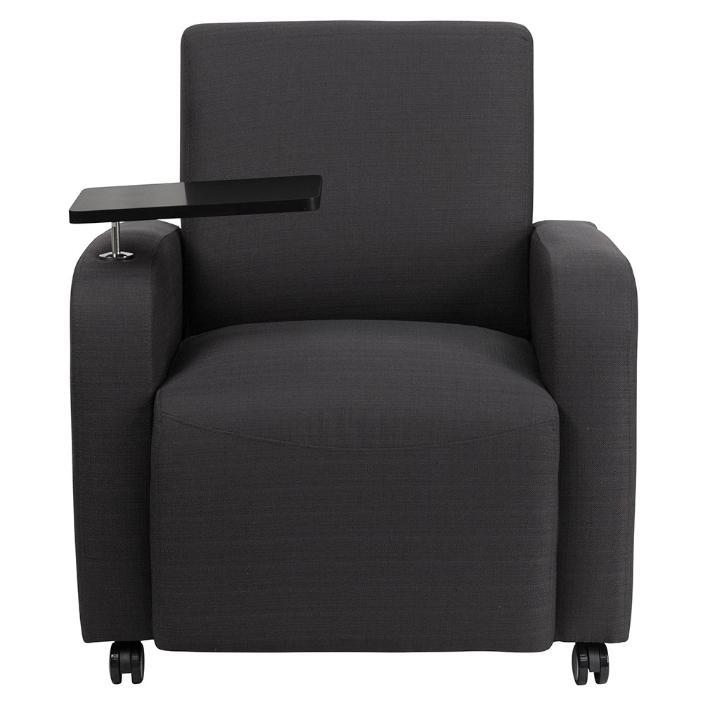 Ergonomic Home Gray Fabric Guest Chair With Tablet Arm And