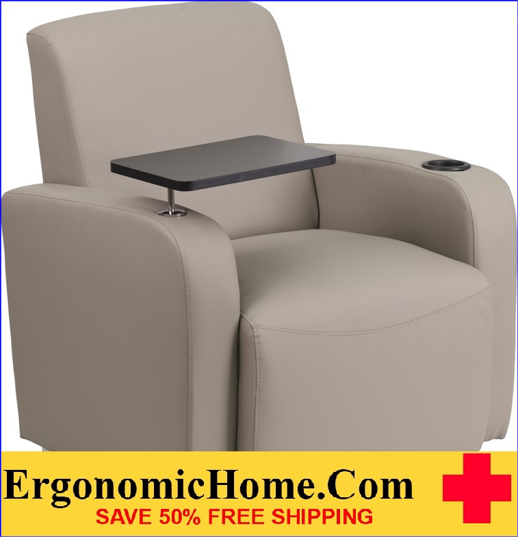 Ergonomic Home Gray Leather Guest Chair with Tablet Arm, Chrome Legs and Cup Holder <b><font color=green>50% Off Read More Below...</font></b></font></b>