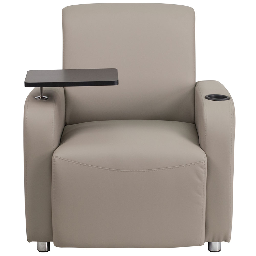 Ergonomic Home Gray Leather Guest Chair With Tablet Arm