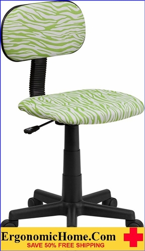 Ergonomic Home Green and White Zebra Print Swivel Task Chair   VIDEO BELOW.