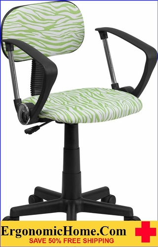 Ergonomic Home Green and White Zebra Print Swivel Task Chair with Arms .