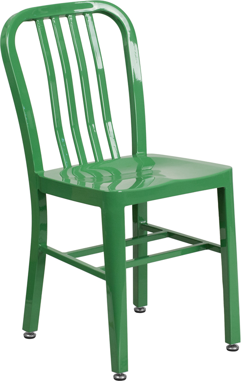 ERGONOMIC HOME Green Metal Indoor-Outdoor Chair